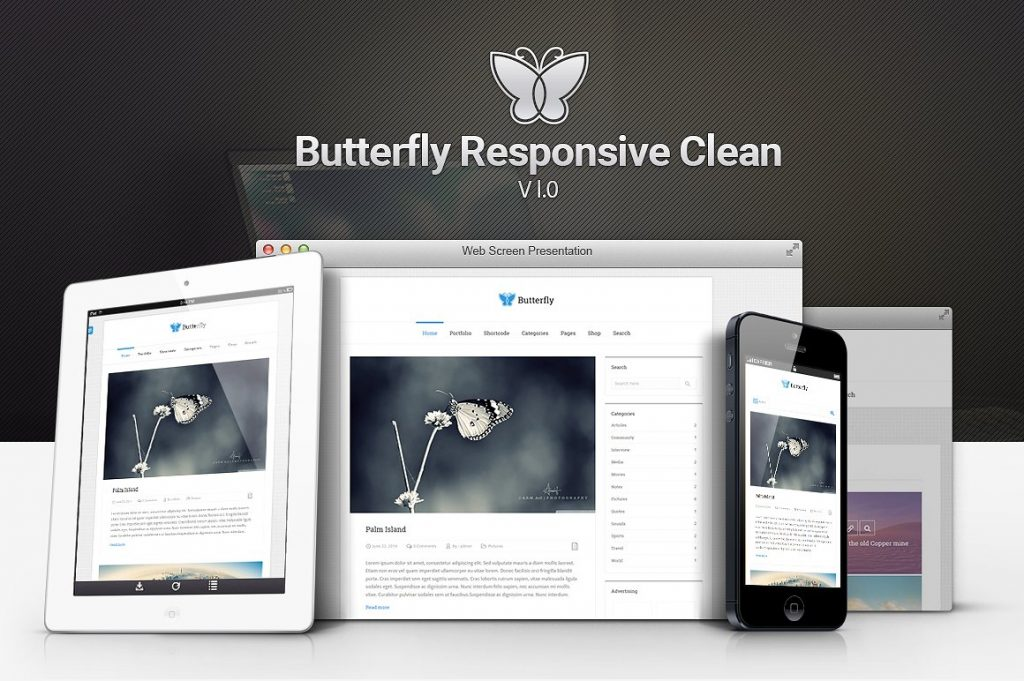 قالب وردپرسی سایت دانلودی و خبری Butterfly Responsive Clean Blog 1